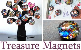 Hattifant Recycle Craft Treasure Magnets with gems and bottle caps
