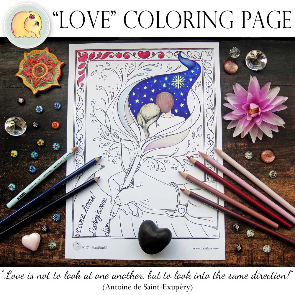 Hattifant Love Grown Up Coloring Page