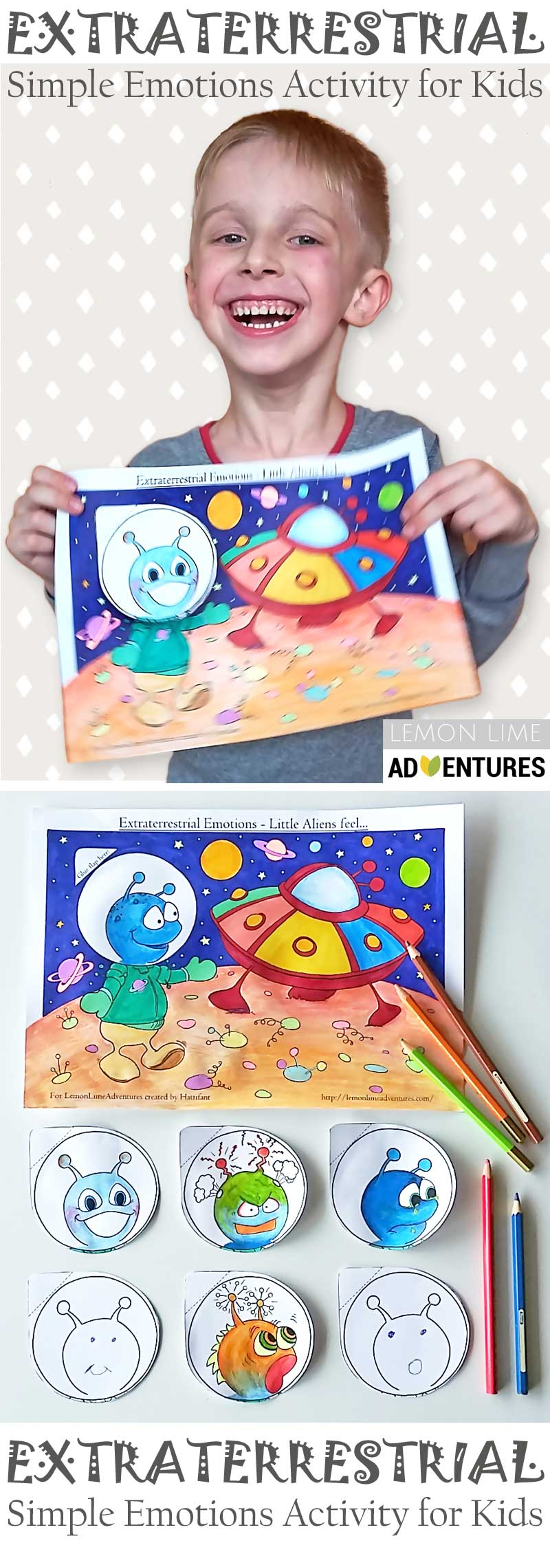 Hattifant's Extraterrestrial Emotions Kids Activity to color and craft in collab with LemonLime Adventures