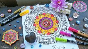 Hattifant's monthly Mandala Calendar Coloring Page the Mandalendar