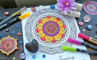 Hattifant's monthly Mandala Calendar Coloring Page the Mandalendar