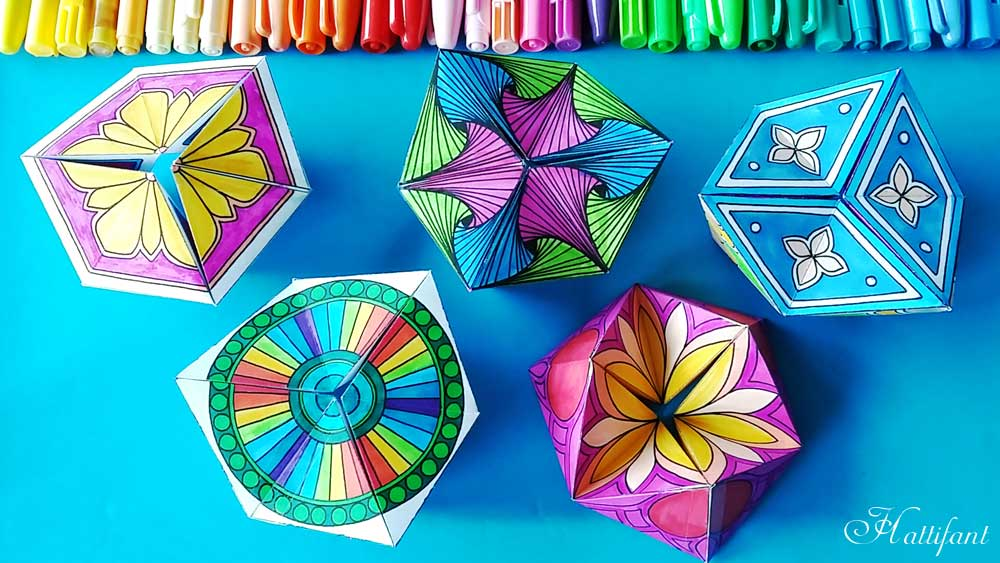 Hattifant's new series of Kaleidocycles Flextangles a mechanical papertoy to color and craft free download