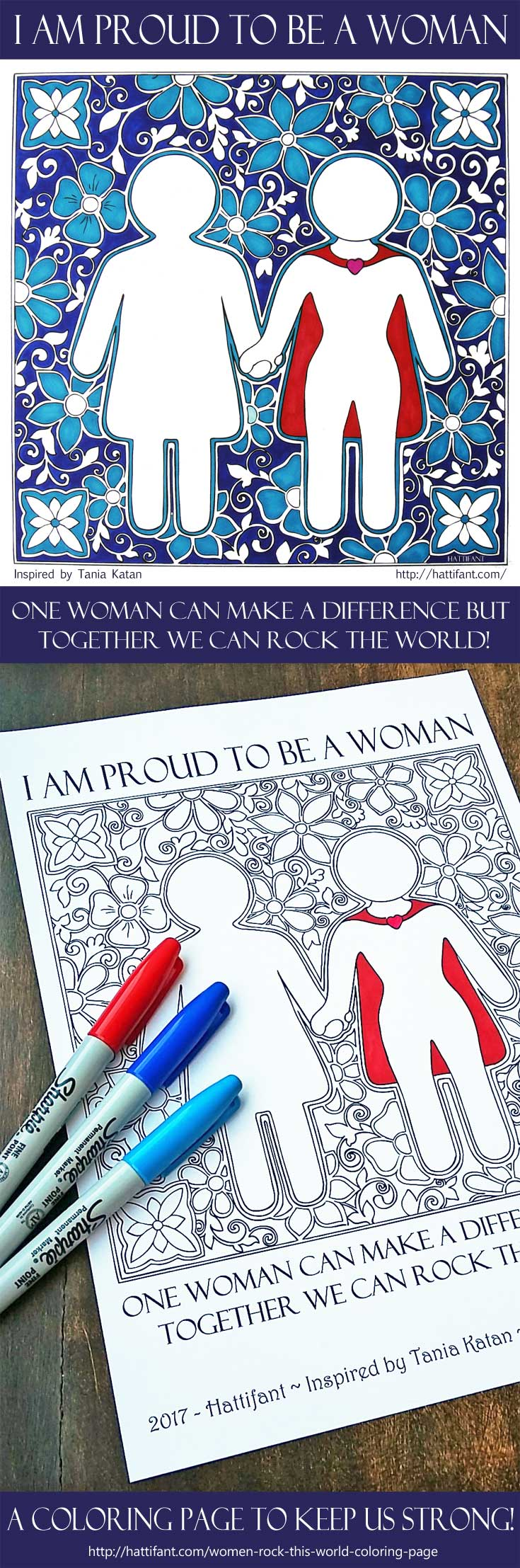 Hattifant's Proud to be a woman Coloring Page inspired by ItWasNeverADress