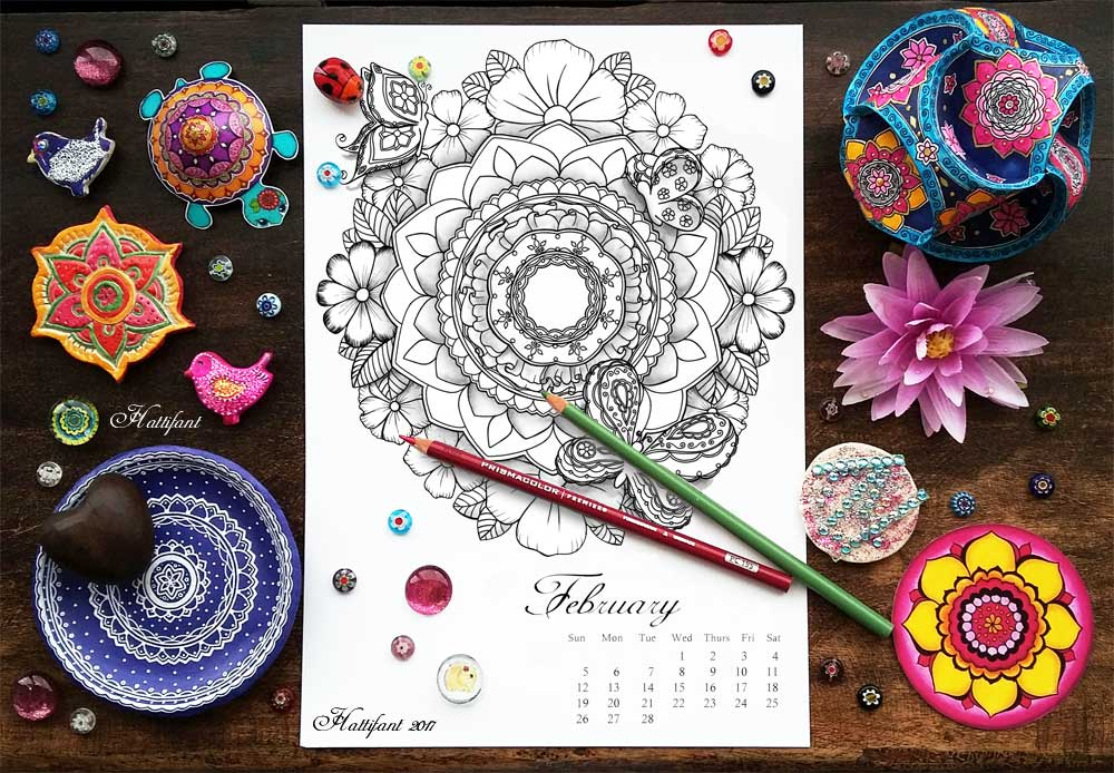 Hattifant's monthly Mandala Calendar Coloring Page the Mandalendar February