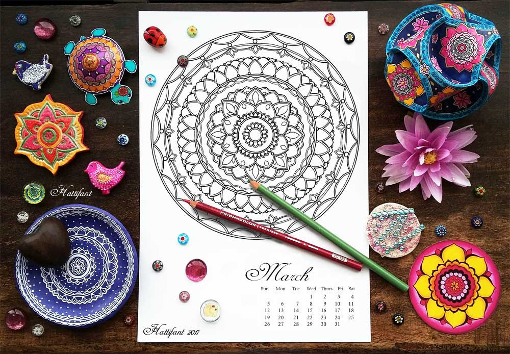 Hattifant's monthly Mandala Calendar Coloring Page the Mandalendar March