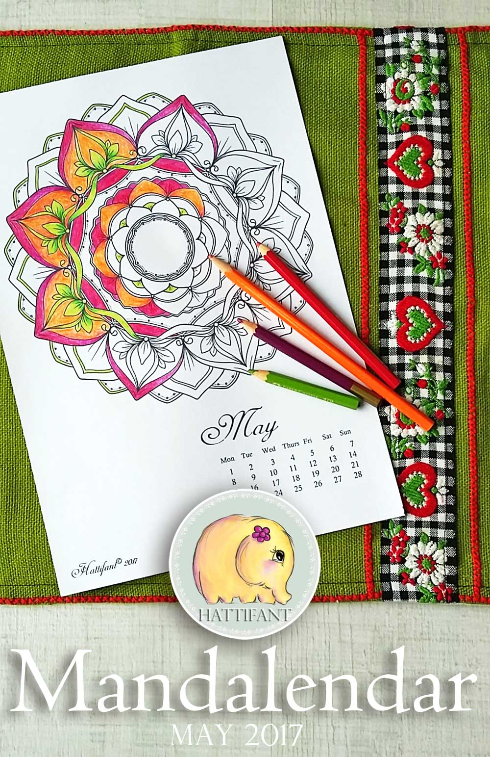 Hattifant's Mandalandar 2017 a Mandala Calendar Coloring Page for May to download for free during May