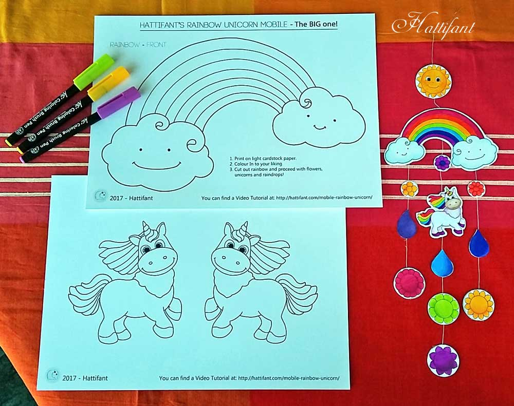 Hattifant Rainbow and Unicorn Mobile for you to Color and Craft Home Nursery Decor DIY