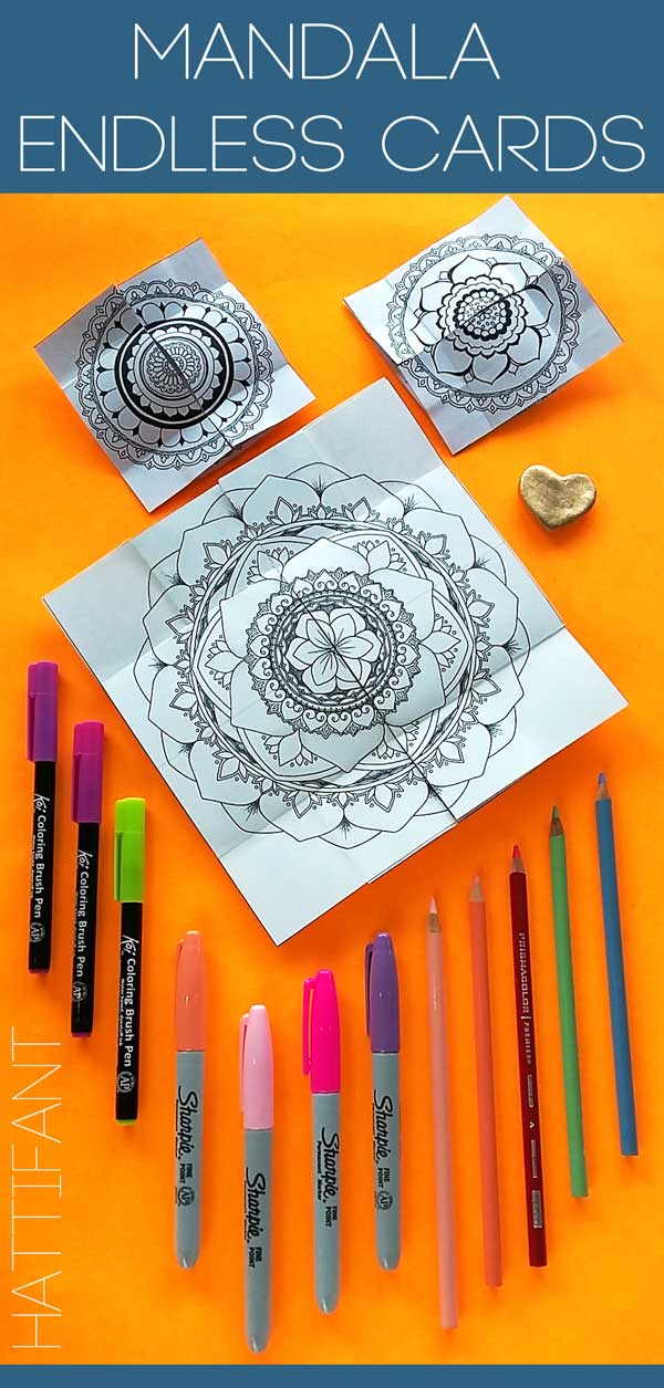 Hattifant's Mandala Endless Card to Color and Craft