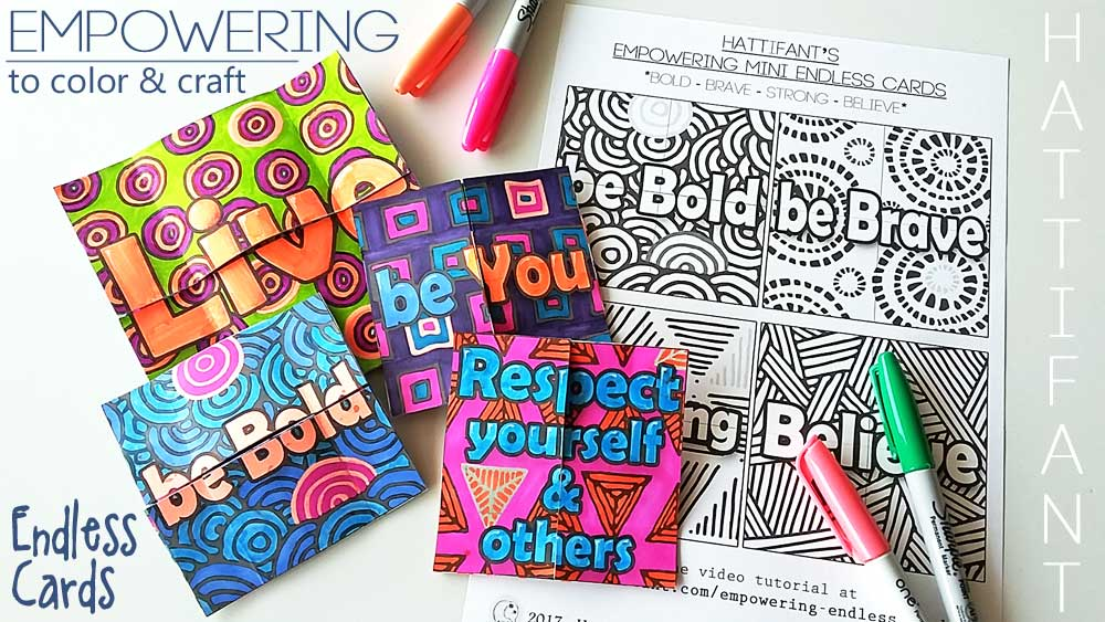 Hattifant's Empowering Endless Cards to color and craft