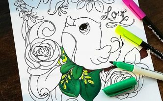 Hattifant's FREE Bird and Flowers Coloring Page