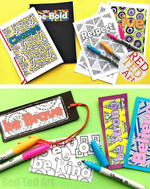 Hattifant's Empowering Endless Cards bookmarks journal to color and craft