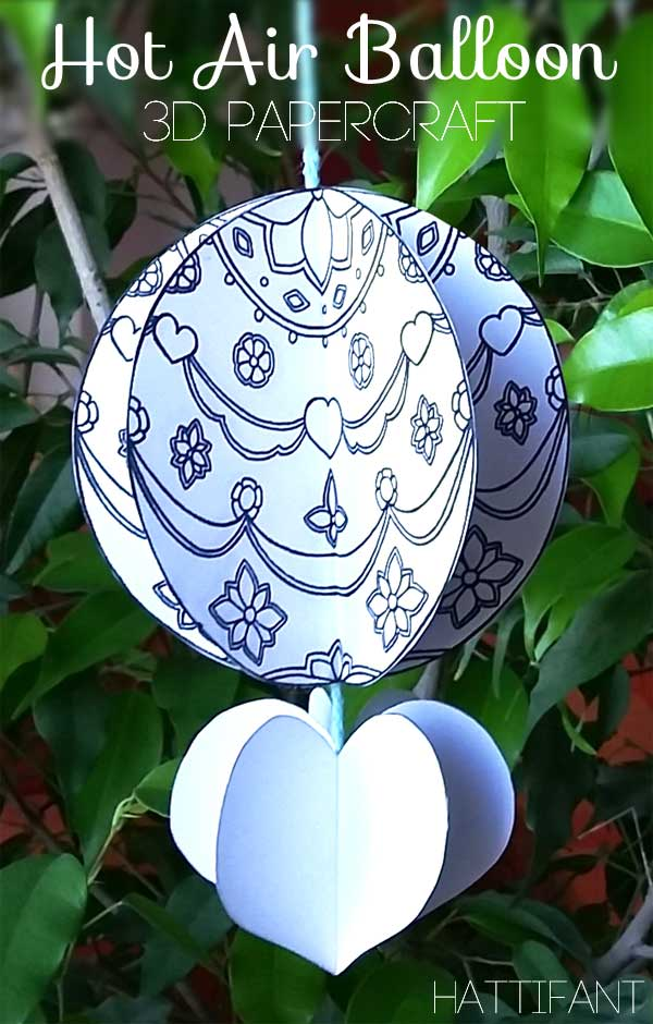 Hattifant's Mandala Hot Air Balloon Papercraft Coloring Pages Freebie