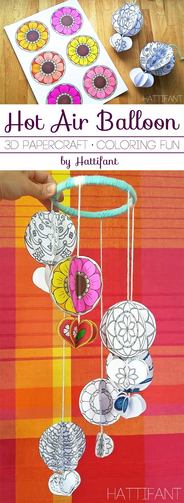 Hattifant's Mandala Hot Air Balloon Papercraft Coloring Pages