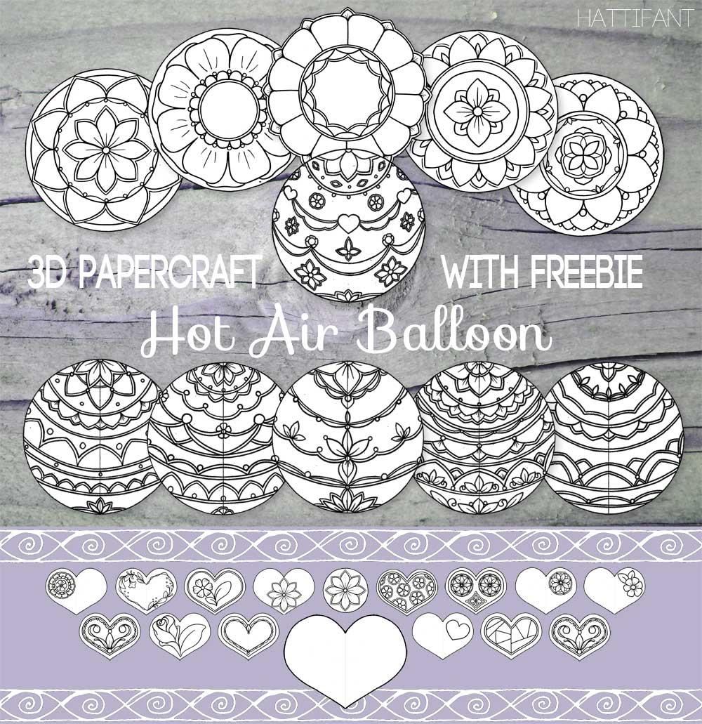 Hattifant's Mandala Hot Air Balloon Papercraft Coloring Pages Bundle