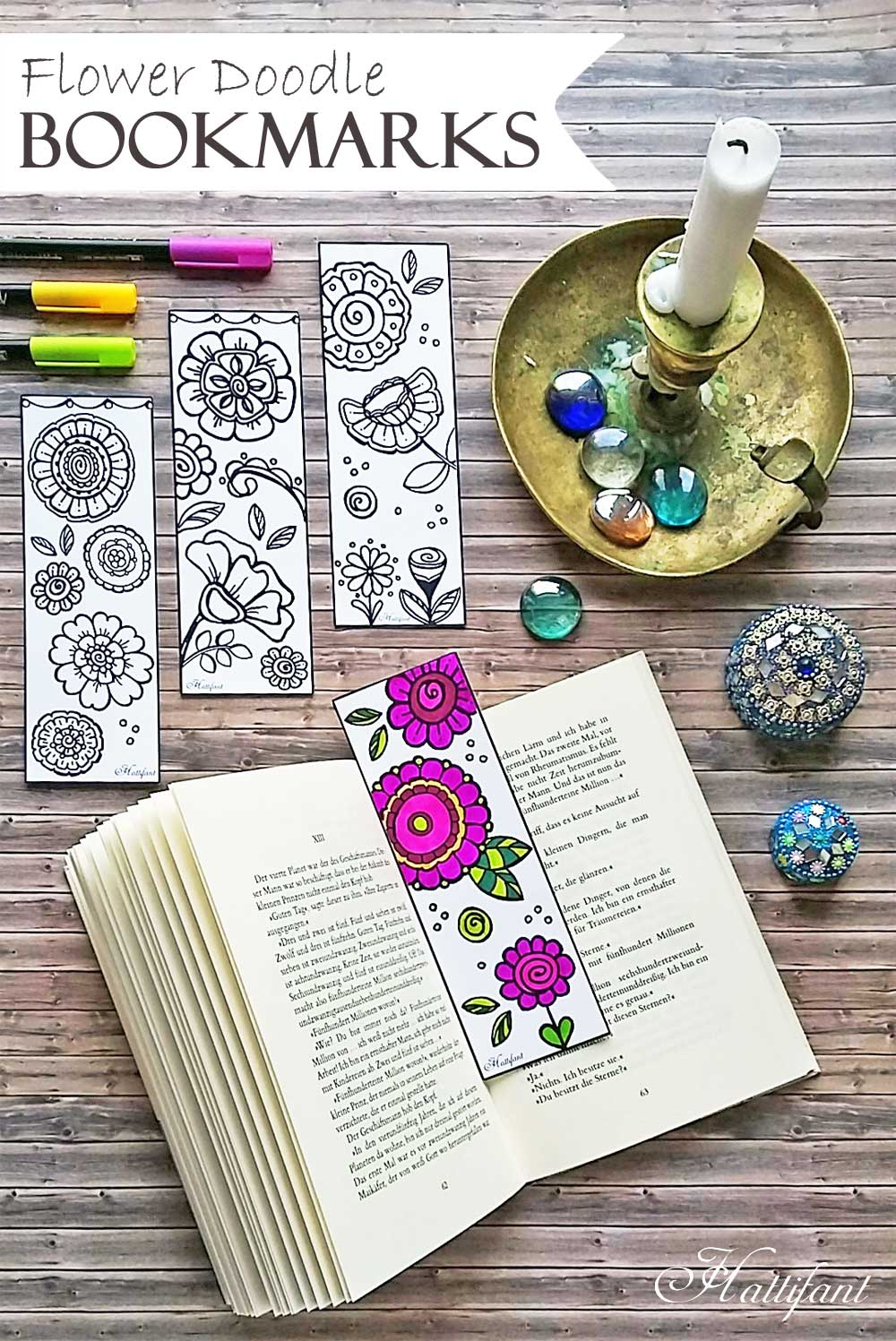 Hattifant's Flower Doodle Bookmarks to DIY and Color