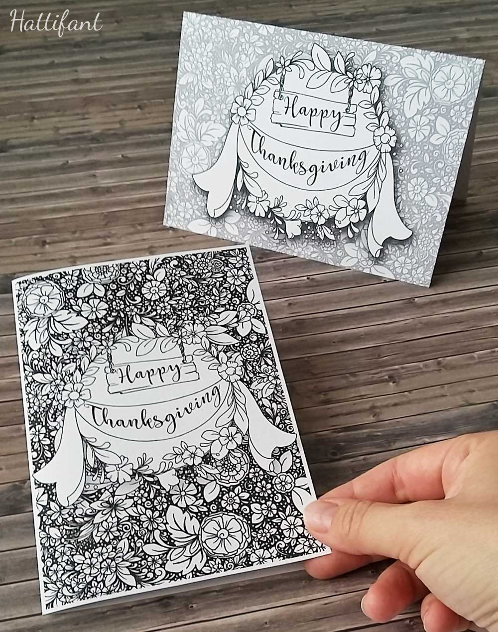 Hattifant's Thanksgiving Table Decoration Flower Doodle Cat Printables Cards