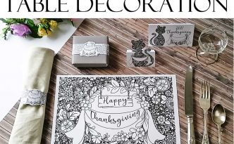 Hattifant's Thanksgiving Table Decoration Flower Doodle Cat Printables