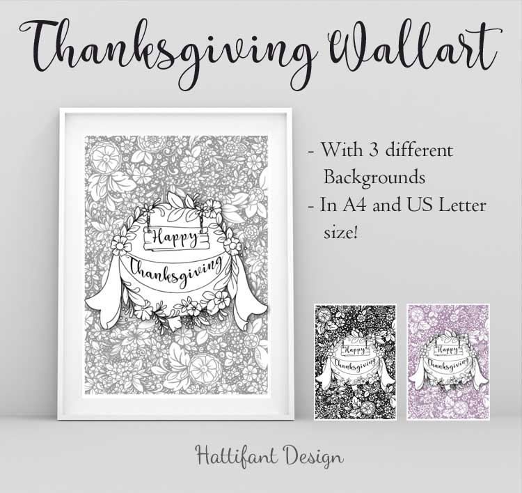 Hattifant's Thanksgiving Table Decoration Flower Doodle Cat Printables Wall Art