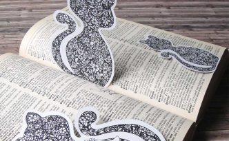 Hattifant Flower Cat Bookmark Series Corner Bookmark Magnetic Coloring Page