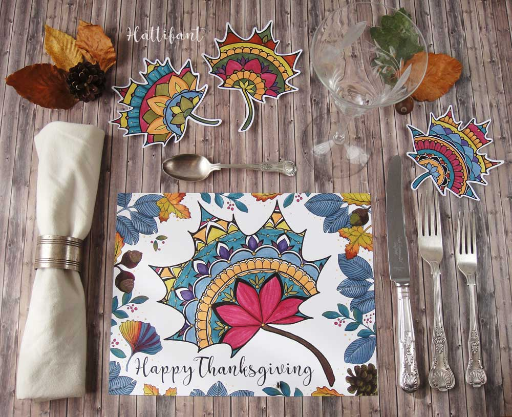 Hattifant's Thanksgiving Mandala Autumn Leaf Coloring Page Printable