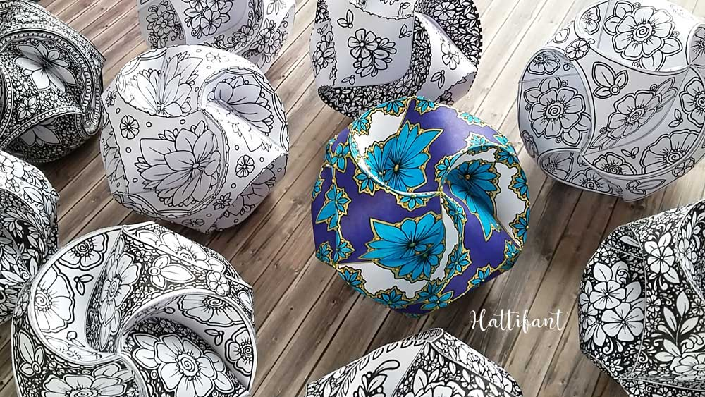 Hattifant's Triskele Paper Globes Flower Edition decoration