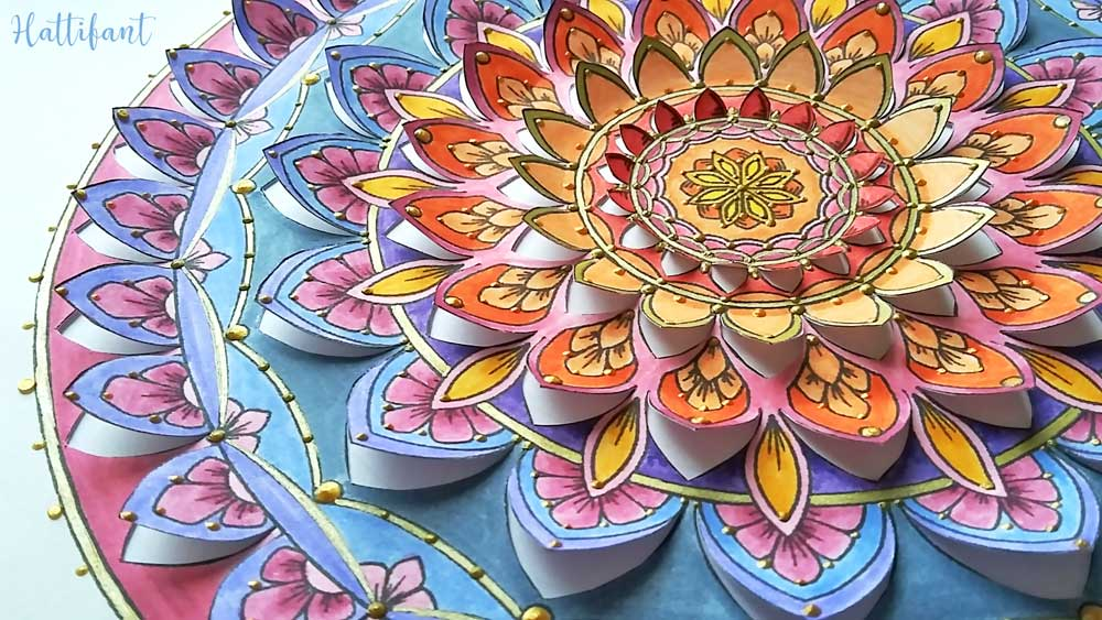 Hattifant's Home Decor Mandala Papercut to Color In or readily in Color Details