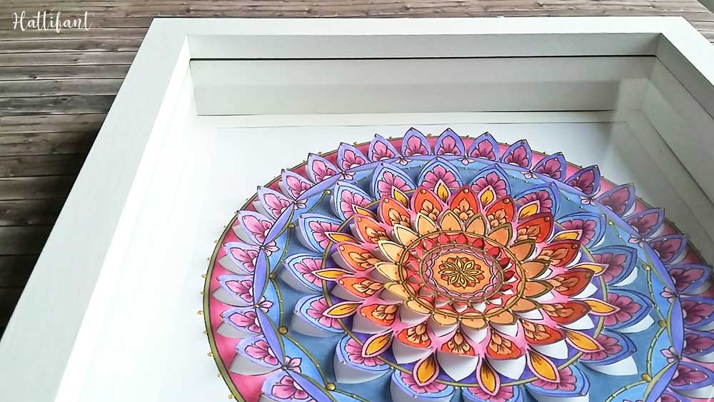 Hattifant's Home Decor Mandala Papercut to Color In or readily in Color framed
