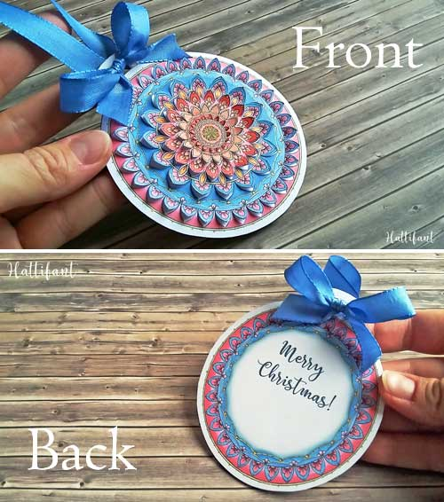 Hattifant's Home Decor Mandala Papercut to Color In or readily in Color Gift Tags