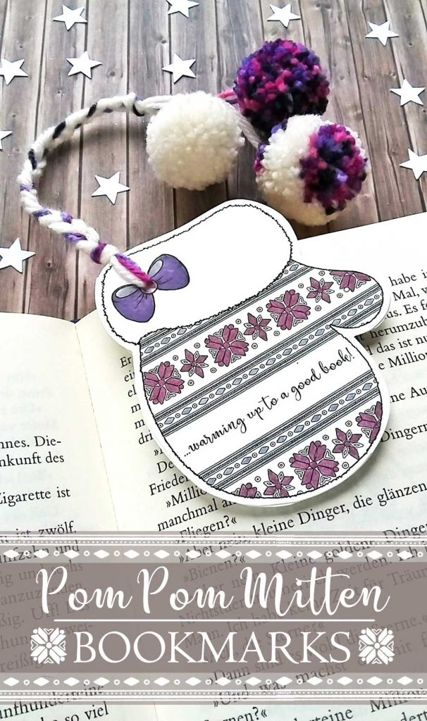 Hattifant's Winter Bookmarks Mitten to Color In Coloring Page Papercraft