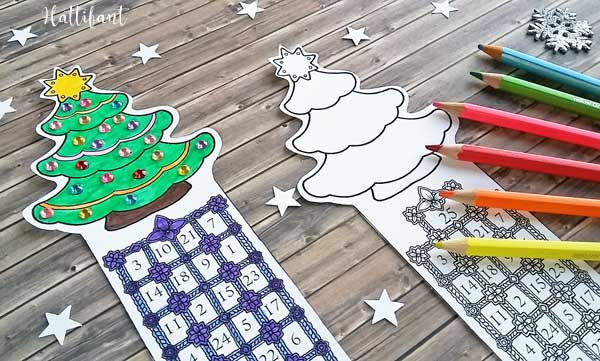 Hattifant's Christmas Countdown Bookmarks to Print and Color