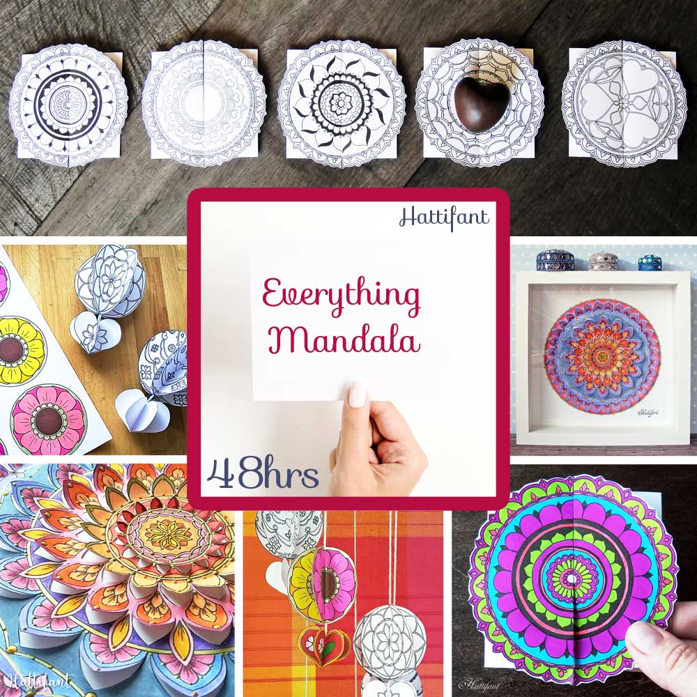 Hattifant's Flash Sale for 14 Papercrafts and Coloring Pages 55% off Mandala