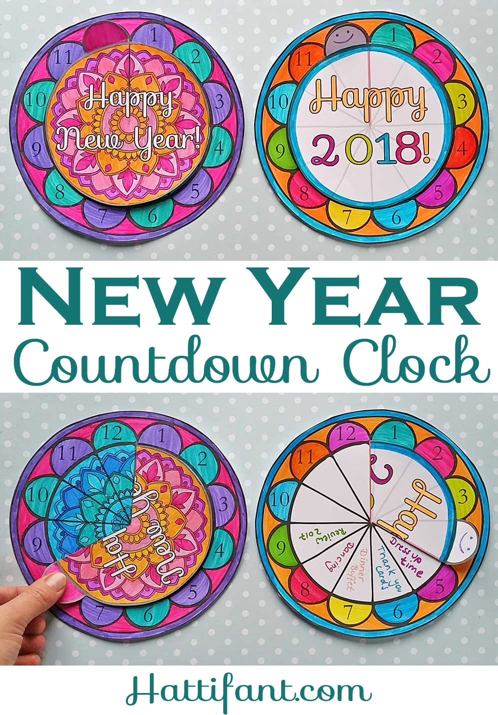 Hattifant's New Year Countdown Clock Papercraft to color in 2018