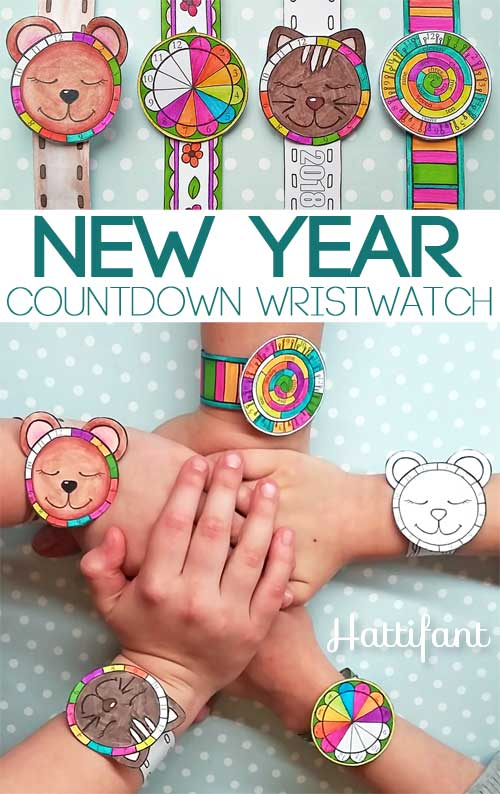 Hattifant's New Year Countdown Wristwatch Papercraft to color in 2018