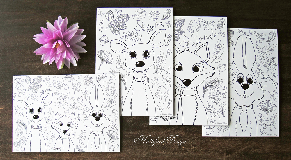 Hattifant Woodland Folding Cards to color