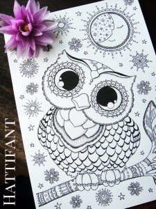 Hattifant's Baby Owl Coloring Page