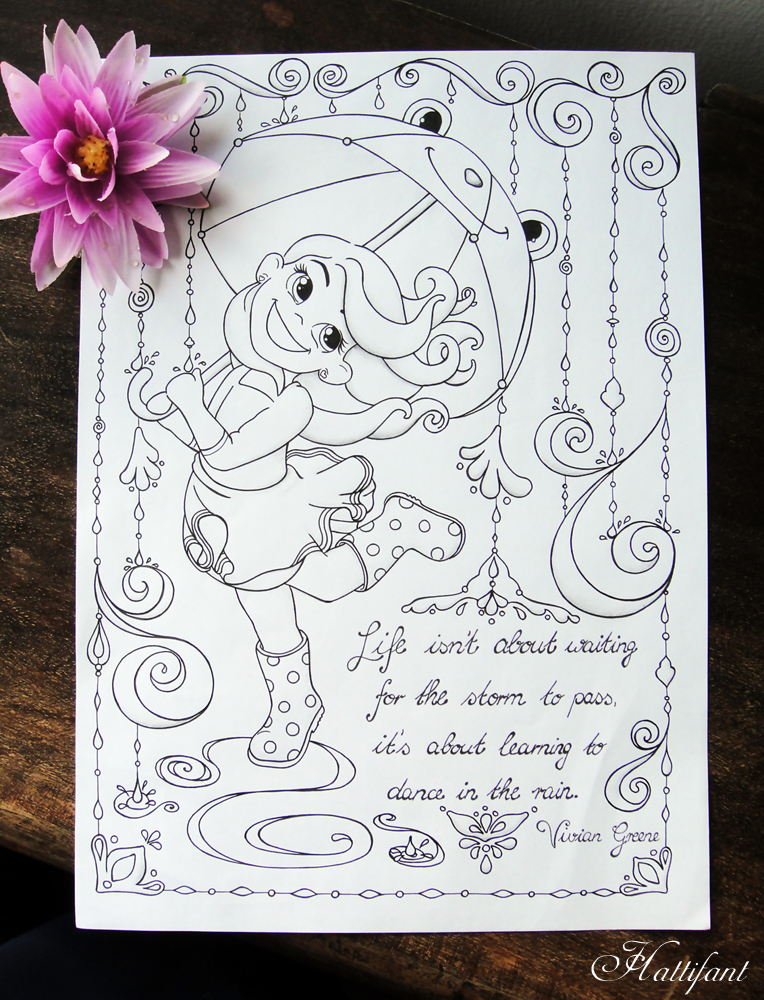 Hattifant's Rainy Day Coloring Page - Vivian Greene Quote