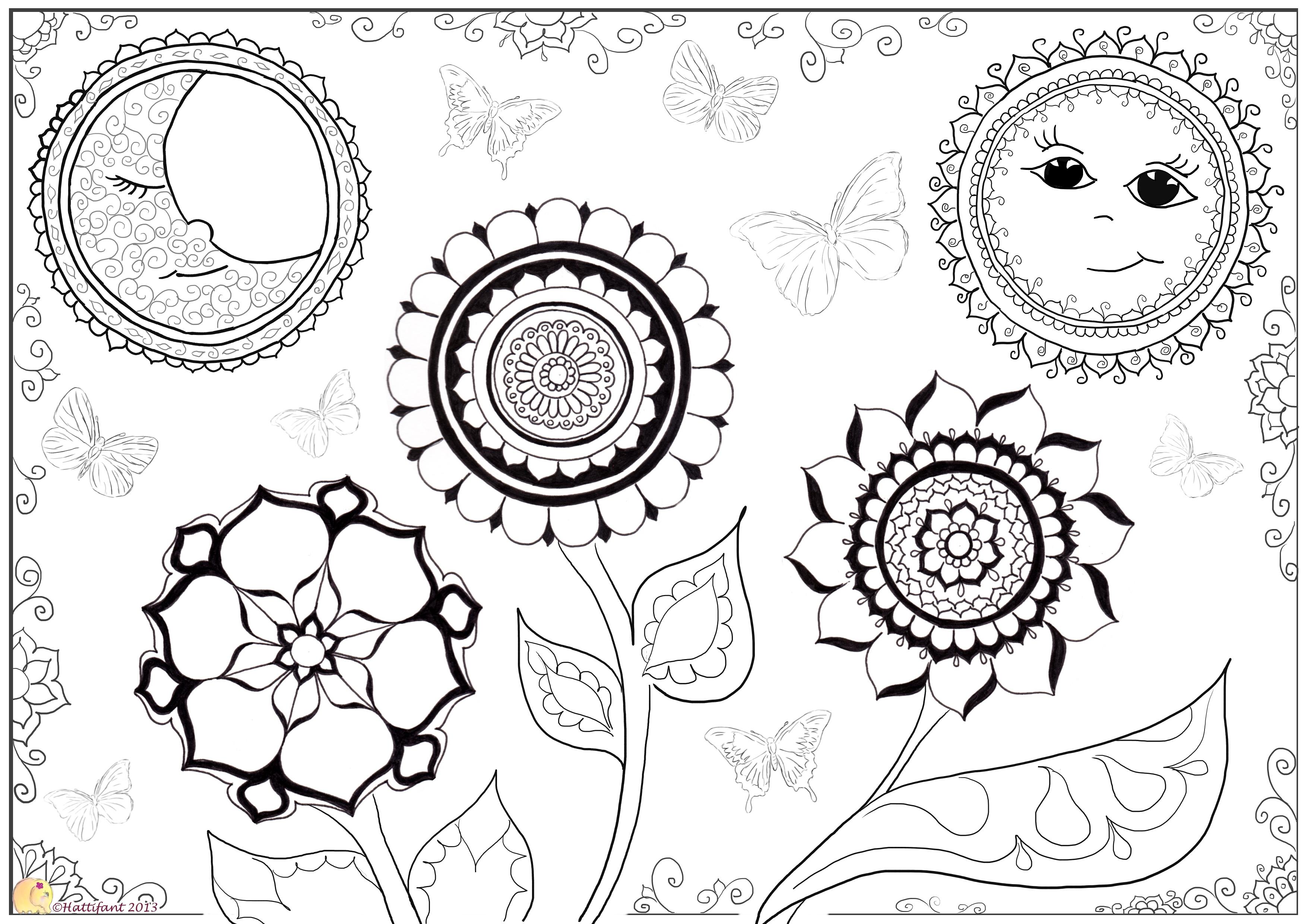 Sun,Moon,Butterflies & Flowers - Hattifant