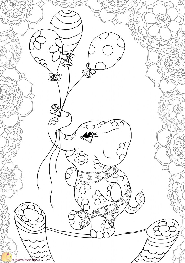 funny finished coloring book pages | Balancing Elephant - Hattifant
