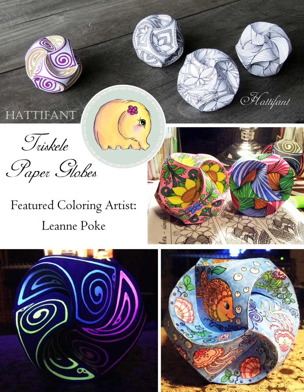 Hattifant Triskele Paper Globes Papercraft Coloring Page Grownup Coloring