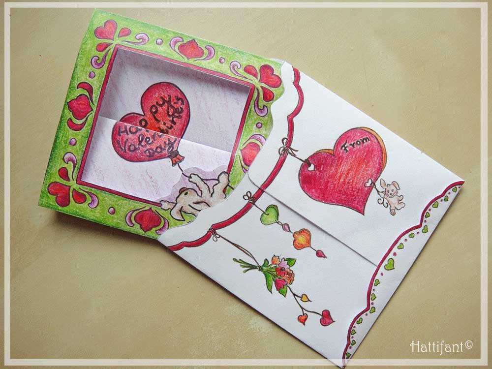 Hattifant's Valentine Mouse Popup Box Card How To 6