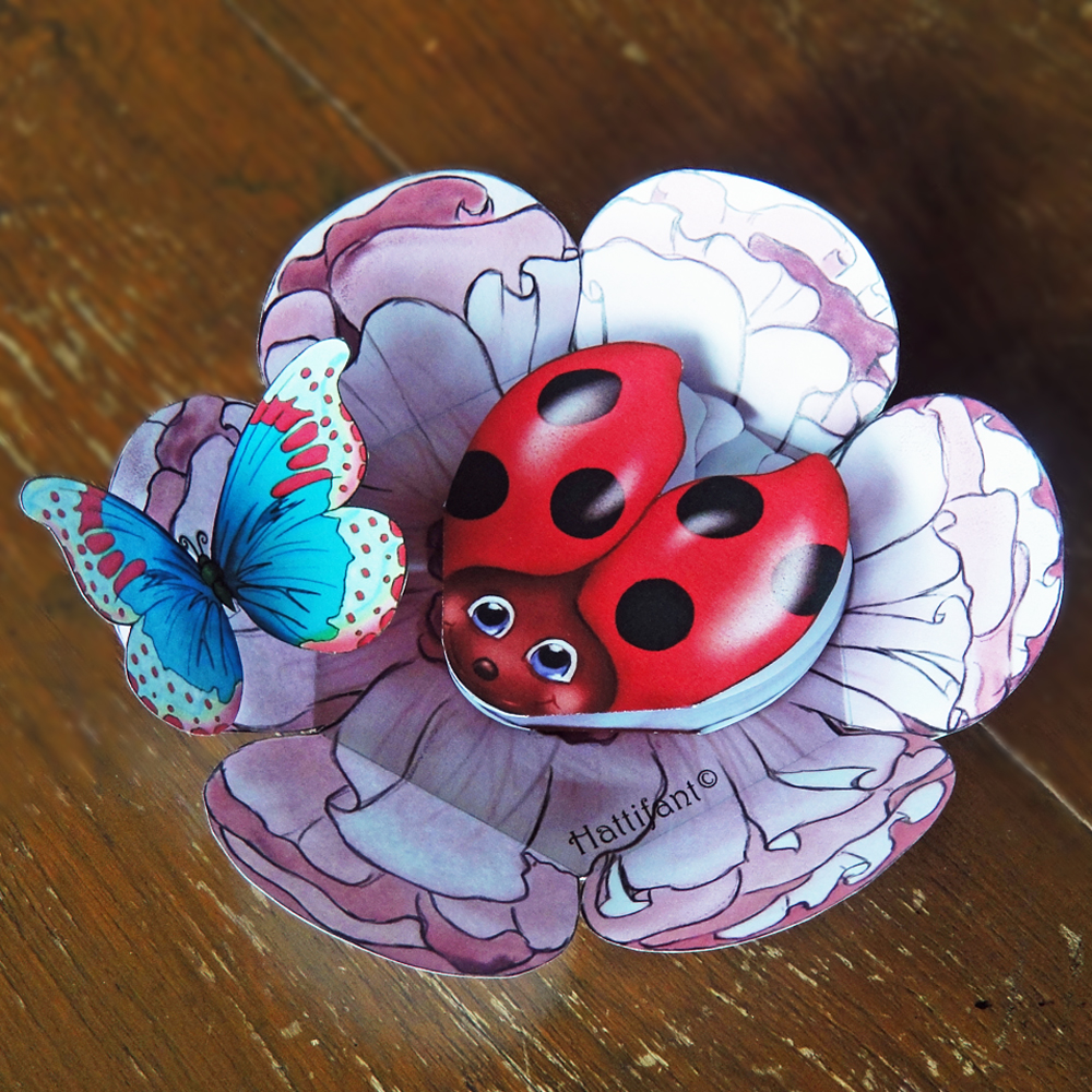 Hattifant Ladybird & Butterfly Pop Up Car A