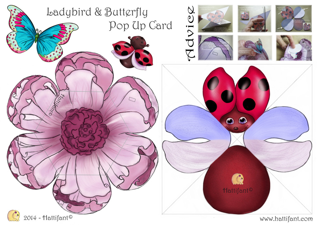 How To make Ladybird & Butterfly Pop Up Card - Hattifant