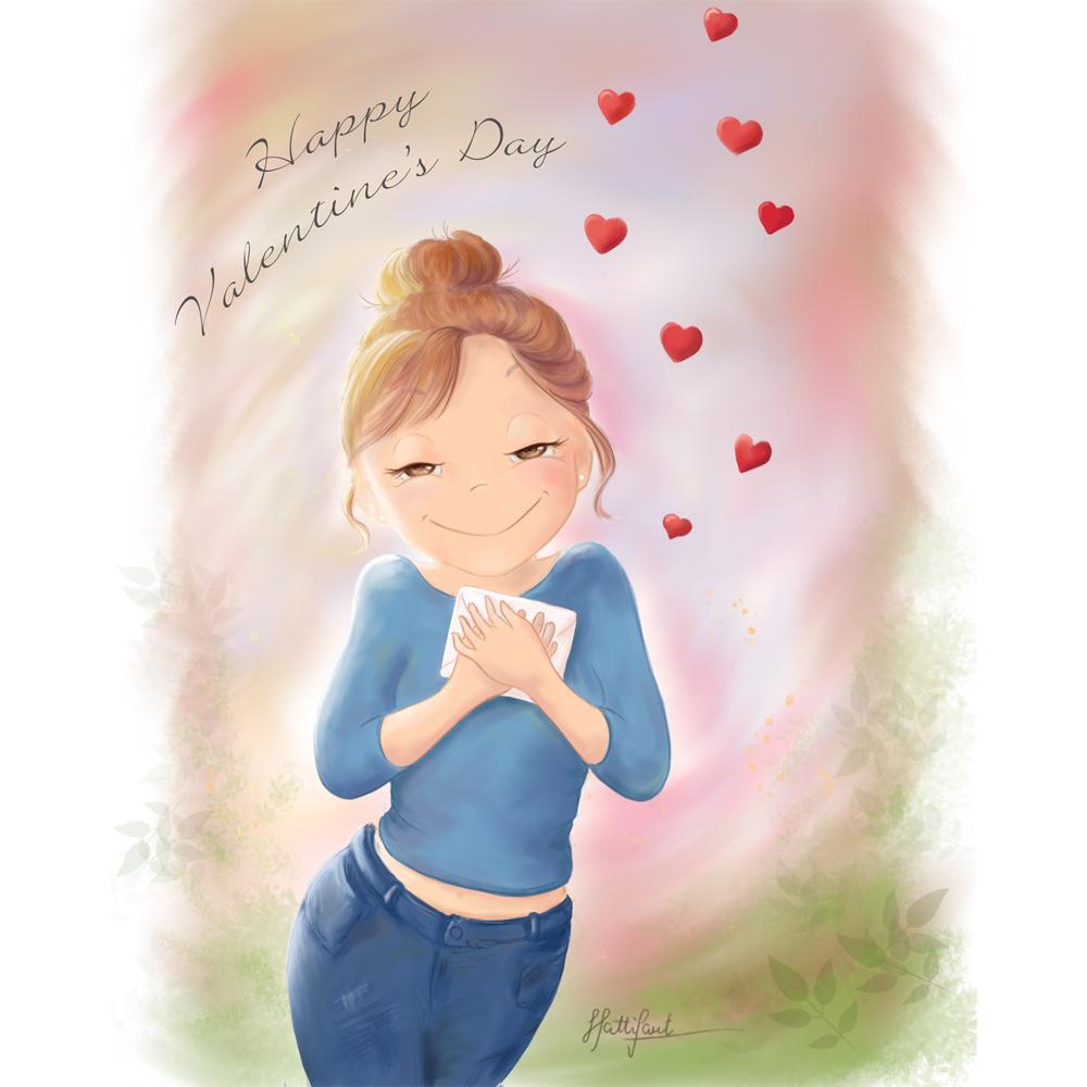 Hattifants Valentines Girl hugging Letter