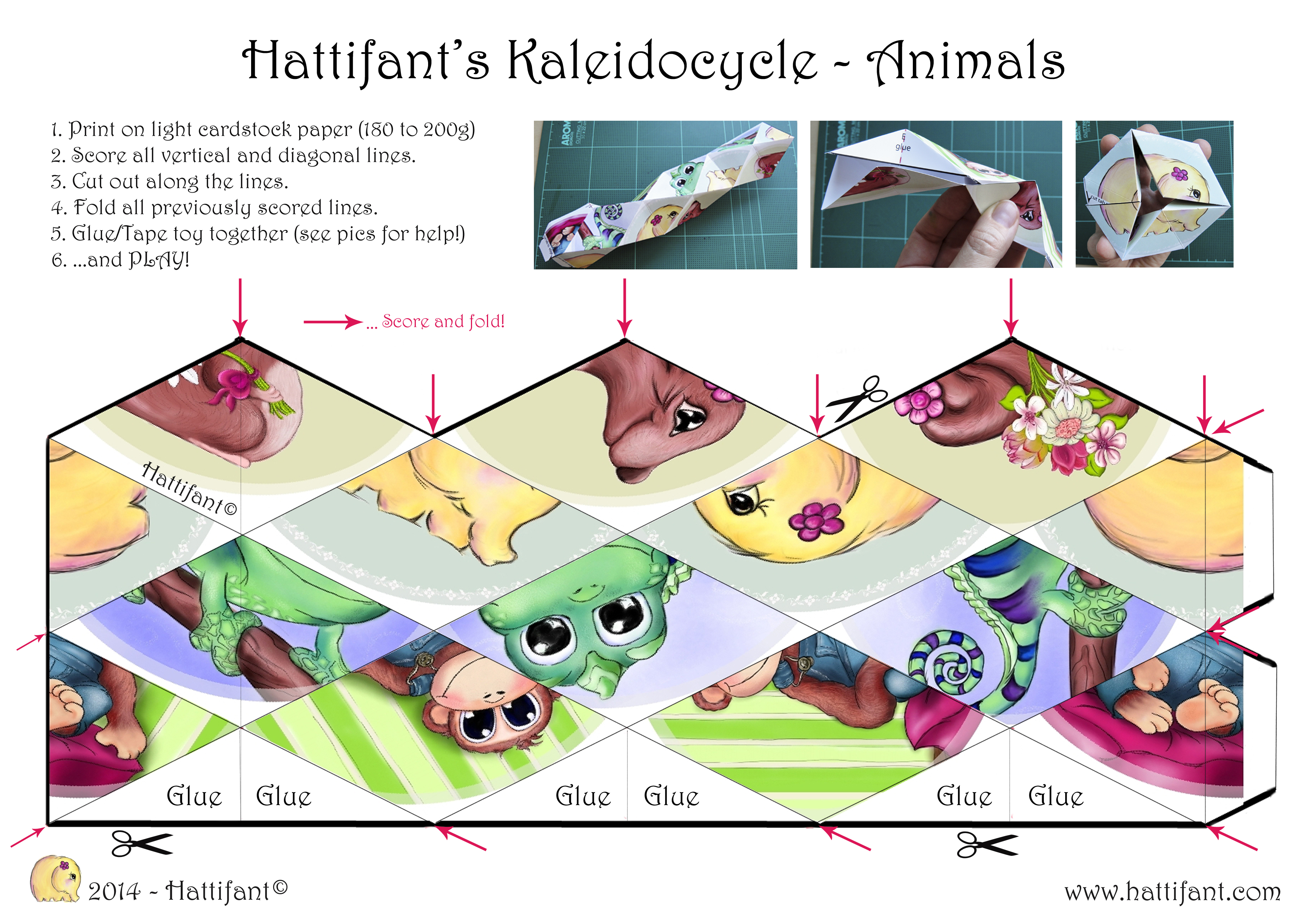 photo regarding Flextangle Printable known as Hattifants Kaleidocycle - Hattifant