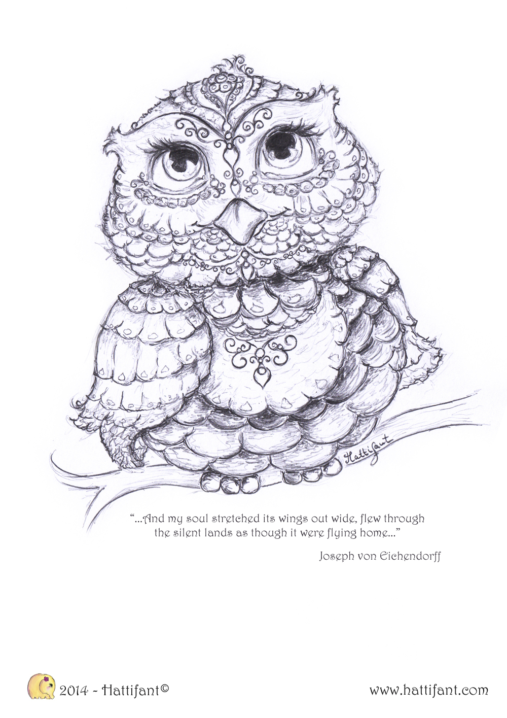 Hattifant's Owl - Colouring In Page