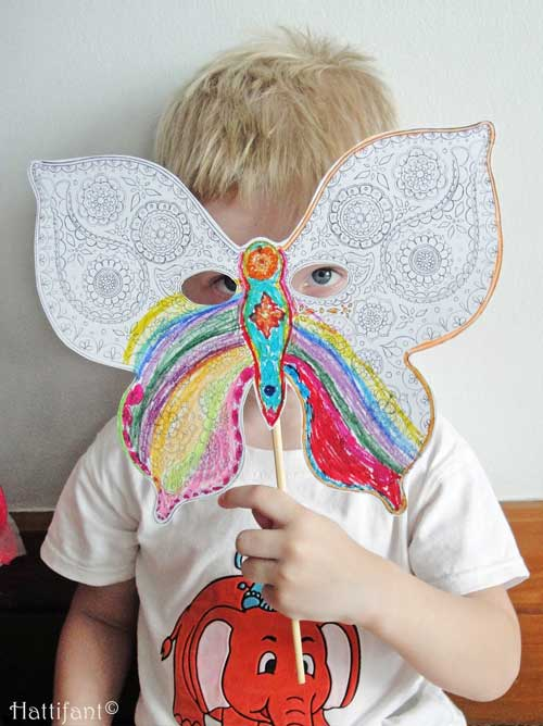 Hattifant's Paisley Pattern Butterfly Mask to color and craft