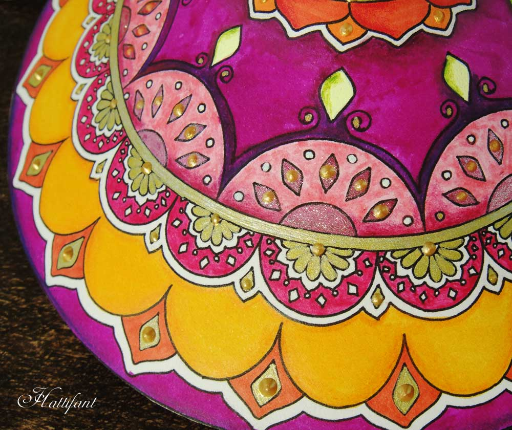 Hattifant's Mandala Turtle to color and craft for adults and grown ups a papercraft or papertoy detail