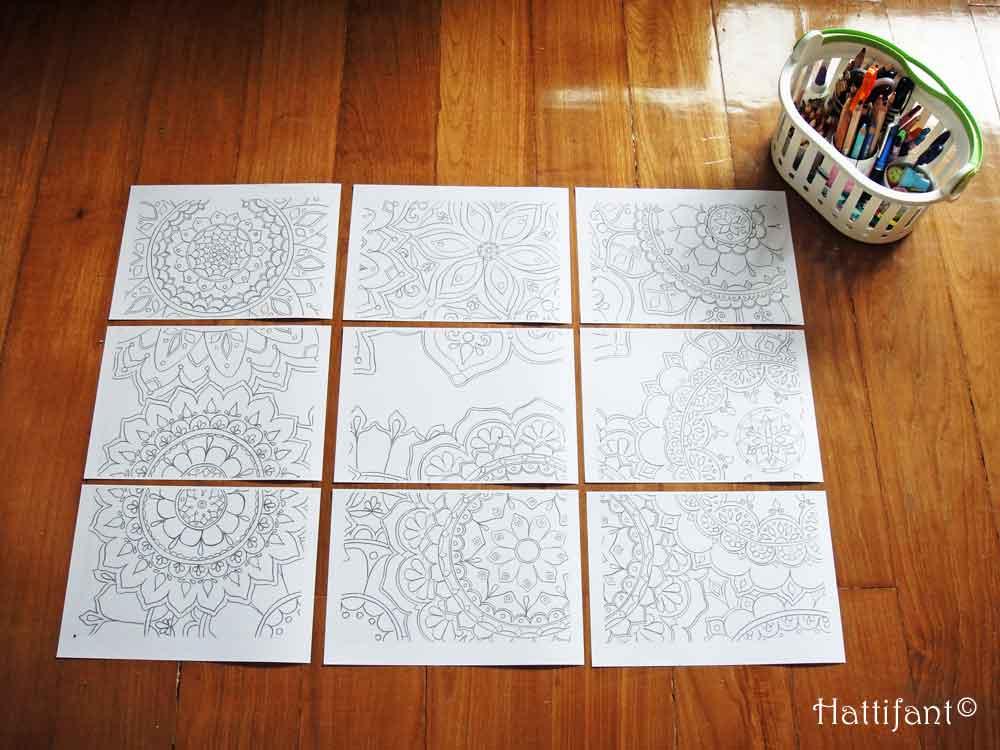 Hattifant's giant Mandala Flower Doodle Poster to Color