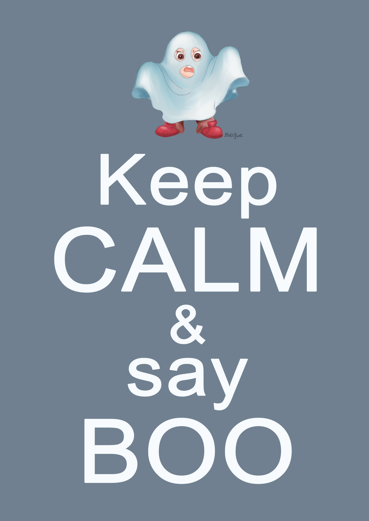 Halloween, stay calm, say boo, boo, ghost, illustration