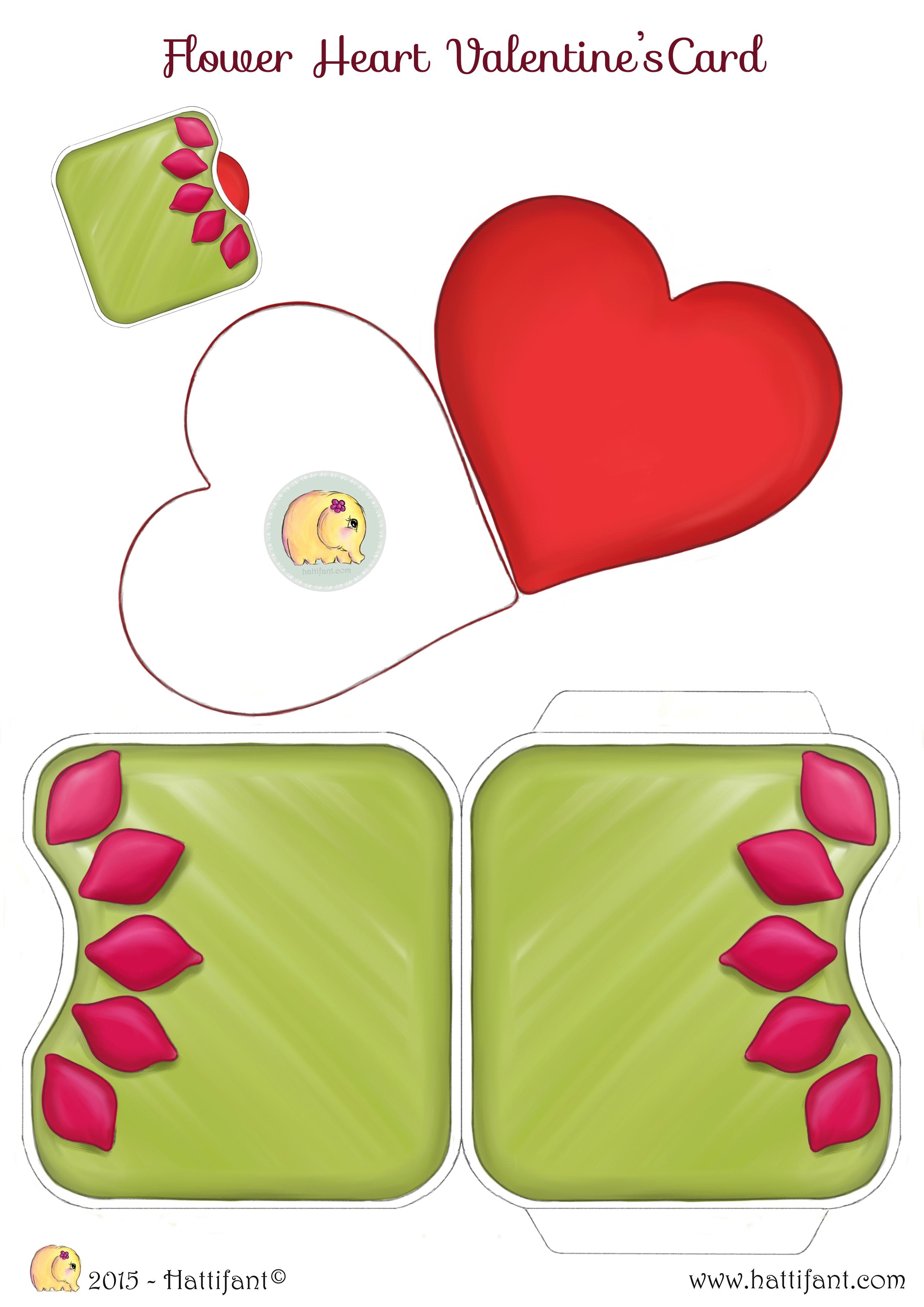 Flower Heart Valentine\'s Card - Hattifant